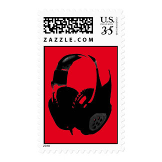 Auricular negro rojo del arte pop timbres postales