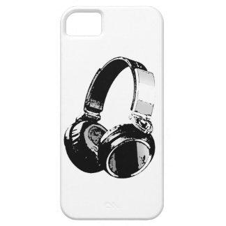 Auricular negro y blanco del arte pop iPhone 5 fundas