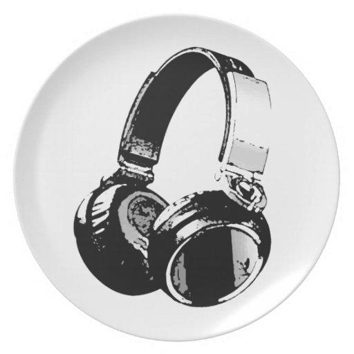 Auricular negro y blanco del arte pop plato para fiesta