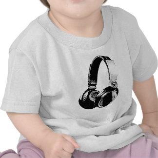 Auricular negro y blanco del arte pop camiseta