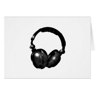 Auricular negro y blanco del arte pop tarjeta de felicitación