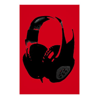 Auricular rojo negro del arte pop