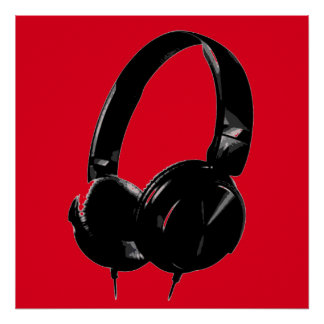Auricular rojo negro del estilo del arte pop