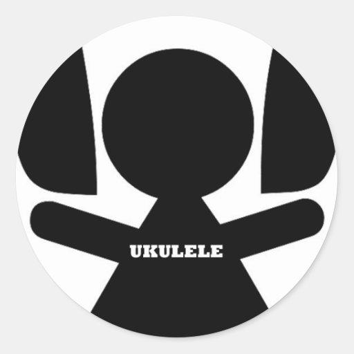 Auriculares atasc música del Ukulele Pegatina Redonda