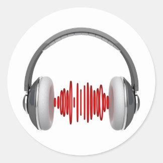 Auriculares con las ondas acústicas etiqueta redonda