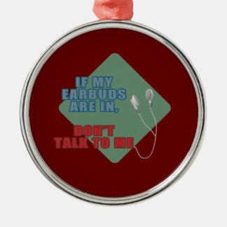 Auriculares de botón adorno navideño redondo de metal