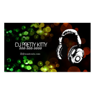 Auriculares de DJ con las tarjetas de visita color