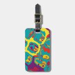 auriculares de DJ del arte pop del color Etiquetas De Maletas