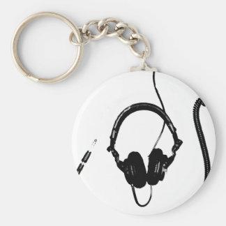 Auriculares de DJ del estilo de la plantilla Llavero Redondo Tipo Pin