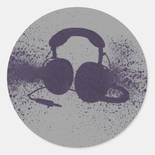 Auriculares de estallido etiquetas redondas