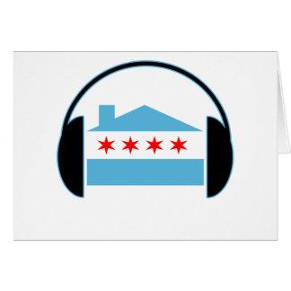 Auriculares de la bandera de casa de Chicago Tarjeta De Felicitación