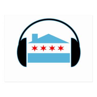 Auriculares de la bandera de casa de Chicago Tarjetas Postales