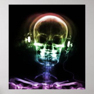 Auriculares de la música de la radiografía del arc póster