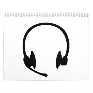 Auriculares de las auriculares calendarios de pared