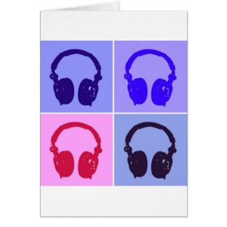 Auriculares del arte pop tarjeta de felicitación