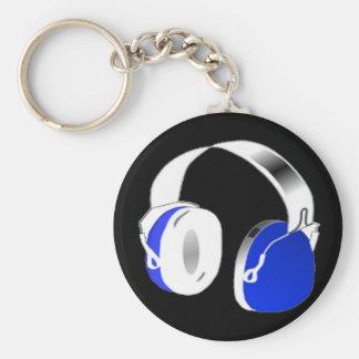 Auriculares del disc jockey en azul llavero redondo tipo pin