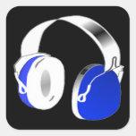 Auriculares del disc jockey en azul calcomania cuadradas personalizadas