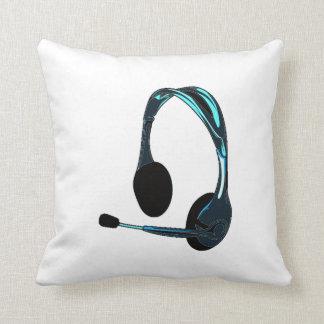 Auriculares del negro azul del estilo de la charla cojín