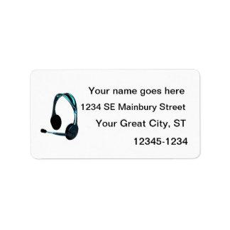 Auriculares del negro azul del estilo de la charla etiquetas de dirección