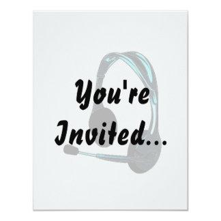 """Auriculares del negro azul del estilo de la charla invitación 4.25"""" x 5.5"""""""