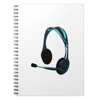 Auriculares del negro azul del estilo de la charla libros de apuntes