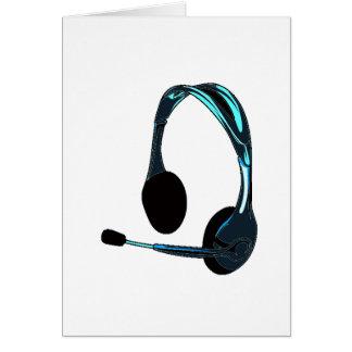 Auriculares del negro azul del estilo de la charla tarjeta pequeña