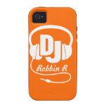 Auriculares DJ nombrados caja anaranjada y blanca  Case-Mate iPhone 4 Carcasa