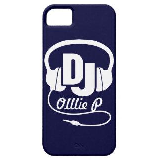 Auriculares DJ nombrados caja azul y blanca del iPhone 5 Carcasas