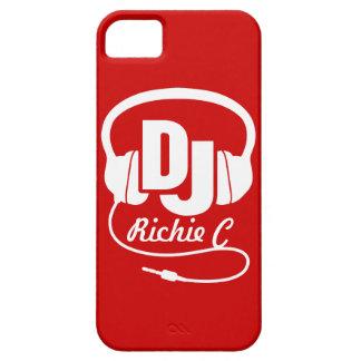 Auriculares DJ nombrados caja roja y blanca del iPhone 5 Fundas
