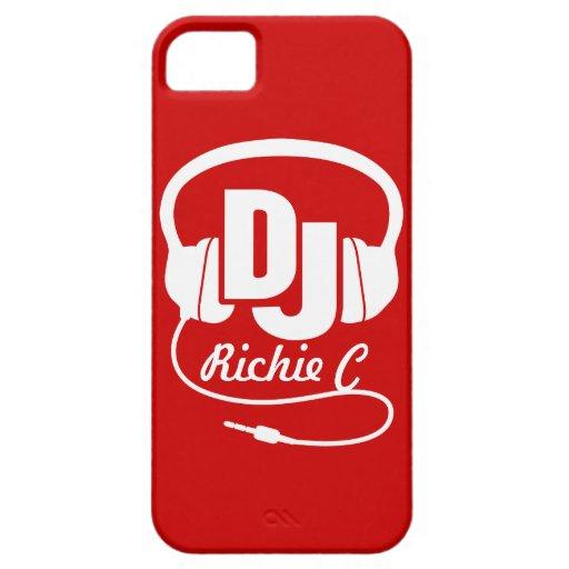 Auriculares DJ nombrados caja roja y blanca del ip iPhone 5 Case-Mate Carcasa