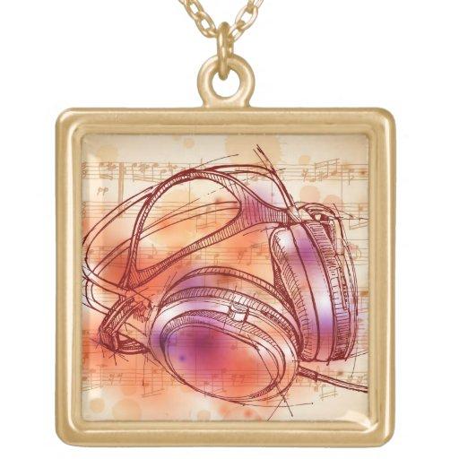 Auriculares en un fondo y notas de la acuarela joyerias