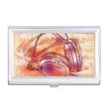 Auriculares en un fondo y notas de la acuarela caja de tarjetas de negocios