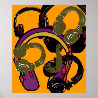 auriculares frescos del disc jockey del arte póster