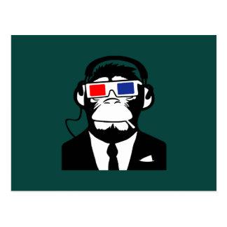 auriculares motivos del club del mono del mono 3D Tarjeta Postal