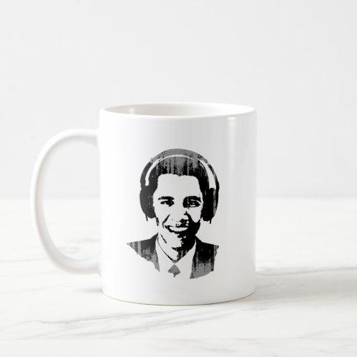 Auriculares Vintage.png de Barack Obama Taza Básica Blanca