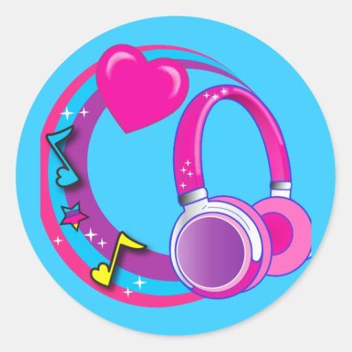 Auriculares y corazones pegatina redonda