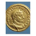 Aurífero de Constantius I César Augustus Postales