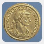 Aurífero de Diocletian cuirassed Calcomanía Cuadradase