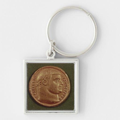 Aurífero de Diocletian que lleva una guirnalda del Llavero Cuadrado Plateado