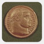 Aurífero de Diocletian que lleva una guirnalda del Pegatina Cuadrada