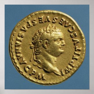 Aurífero de Nero que lleva una guirnalda del laure Impresiones