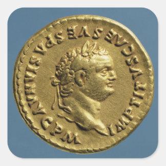 Aurífero de Nero que lleva una guirnalda del Pegatina Cuadrada