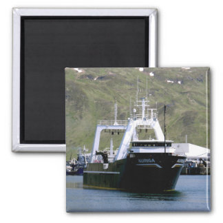 Auriga, pescando el barco rastreador en puerto hol imán de nevera