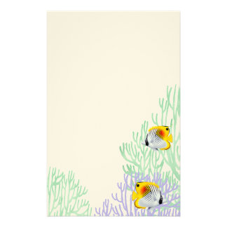 Auriga Threadfin Butterfly Fish in Corals Stationery