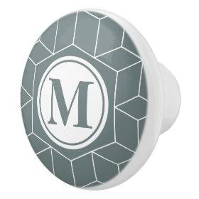 Auro Metal Saurus Geometric and Monogrammed Ceramic Knob