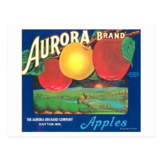 Aurora Apple Label blue - Dayton WA Postcard