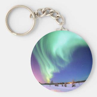 Aurora at Bear Lake. Basic Round Button Keychain