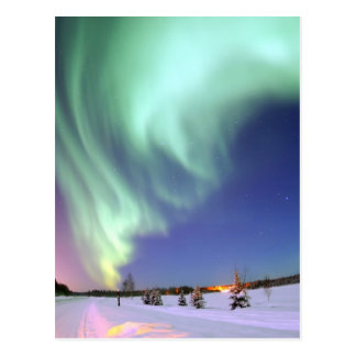Aurora - aurora boreal hermosa postal