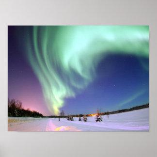 Aurora - aurora boreal hermosa póster