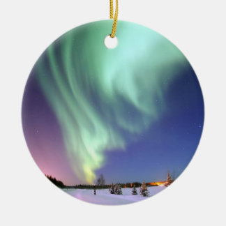 Aurora - Beautiful Northern Lights Double-Sided Ceramic Round Christmas Ornament